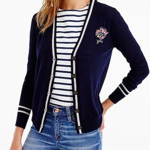J.Crew Cardigan with floral patch sz M NWT